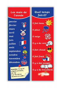 French months and weather bookmark